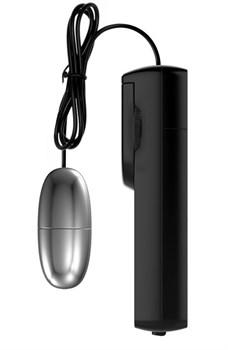 Серебристое виброяйцо с проводным пультом