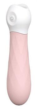 Розовый мини-вибромассажер Diamond Baby Boo - 11 см.