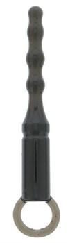 Черная анальная пробка ANAL BEADS WITH LOOP - 12,3 см.
