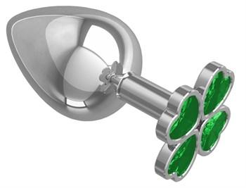 Серебристая анальная пробка-клевер с зеленым кристаллом - 9,5 см.