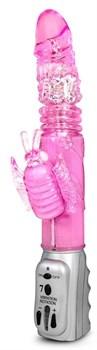 Розовый вибромассажер Butterfly Stroker - 29,8 см.