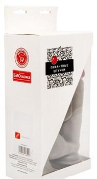 Серый реалистичный фаллоимитатор на присоске - 20 см.