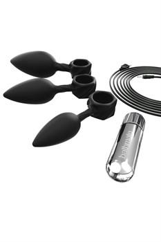 Набор из 3 анальных плагов и вибропули Bathmate Anal Training Plugs VIBE