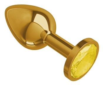 Золотистая конусовидная анальная пробка с желтым кристаллом - 7 см.