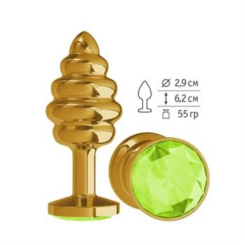 Золотистая спиралевидная анальная пробка с салатовым кристаллом - 7 см.