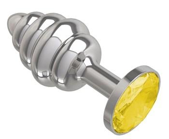 Серебристая спиралевидная анальная пробка с желтым кристаллом - 7 см.