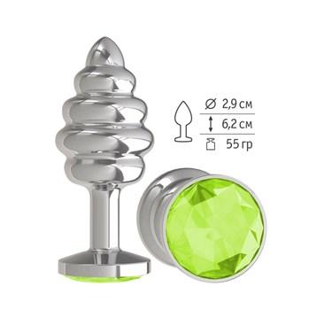 Серебристая спиралевидная анальная пробка с салатовым кристаллом - 7 см.