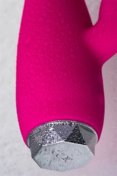 Розовый вибратор с клиторальным стимулятором L EROINA - 17 см.