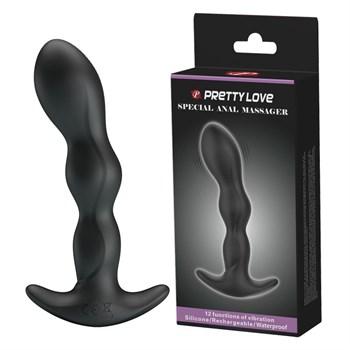 Черный анальный стимулятор простаты с вибрацией Special Anal Massager - 14,5 см.