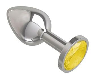 Серебристая конусовидная анальная пробка с желтым кристаллом - 7 см.