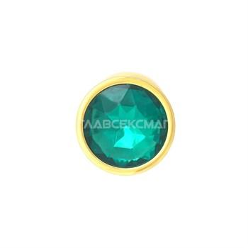 Золотистая анальная пробка с зелёным кристаллом - 7 см.