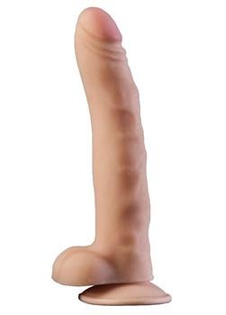 Телесный фаллоимитатор на присоске из неоскин - 19,5 см.