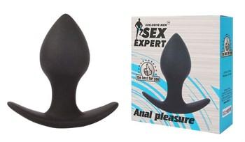 Чёрная анальная пробка с широким основанием Sex Expert - 8 см.