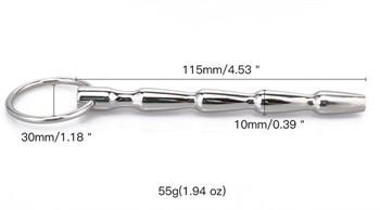 Уретральный металлический стимулятор-елочка с колечком