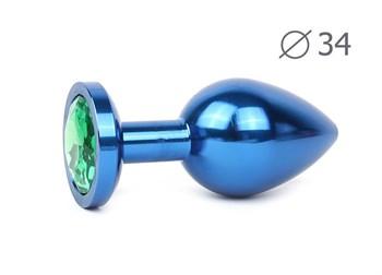 Коническая синяя анальная втулка с зеленым кристаллом - 8,2 см.