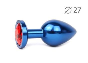 Коническая синяя анальная втулка с красным кристаллом - 7 см.
