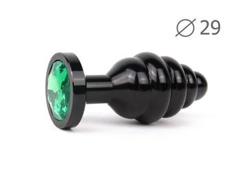 Коническая ребристая черная анальная втулка с зеленым кристаллом - 7,1 см.