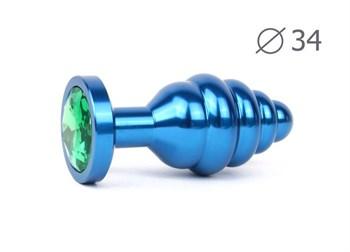 Коническая ребристая синяя анальная втулка с зеленым кристаллом - 8 см.
