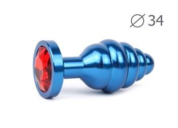 Коническая ребристая синяя анальная втулка с красным кристаллом - 8 см.