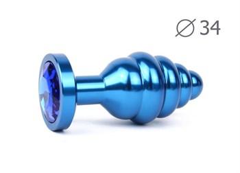 Коническая ребристая синяя анальная втулка с синим кристаллом - 8 см.