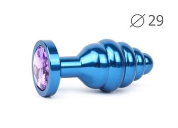 Коническая ребристая синяя анальная втулка с сиреневым кристаллом - 7,1 см.