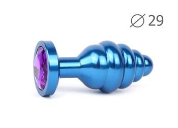 Коническая ребристая синяя анальная втулка с кристаллом фиолетового цвета - 7,1 см.