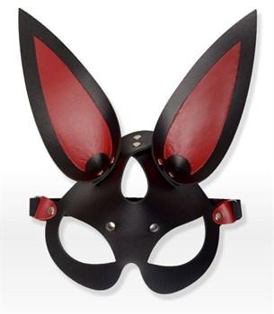 Черно-красная кожаная маска с длинными ушками