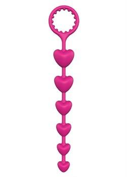 Розовая анальная цепочка с шариками-сердечками HEART BEADS - 23 см.