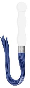 Белый анальный стимулятор-плеть Whipster с синими хвостами