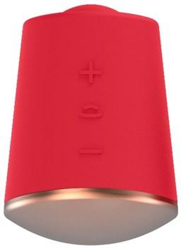 Красный клиторальный стимулятор Dazzling с вибрацией и ротацией - 6,7 см.