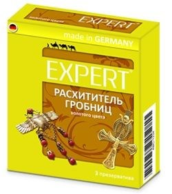 Золотистые презервативы Expert  Расхититель гробниц  - 3 шт.