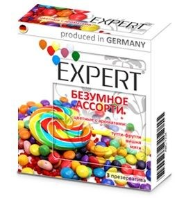 Цветные ароматизированные презервативы Expert  Безумное ассорти  - 3 шт.