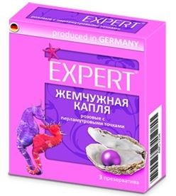 Презервативы Expert  Жемчужная капля  с точечной текстурой - 3 шт.