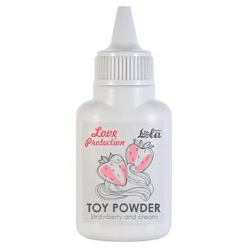 Пудра для игрушек Love Protection с ароматом клубники со сливками - 15 гр.