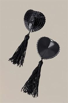 Чёрные пэстисы Hearts With Tassels в форме сердец с кисточками