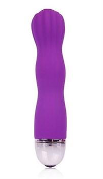 Фантазийный фиолетовый силиконовый вибратор Cosmo - 13,7 см.