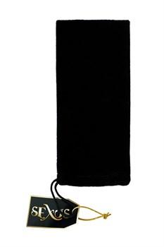 Черная стеклянная анальная втулка Sexus Glass с ограничителем - 11,5 см.