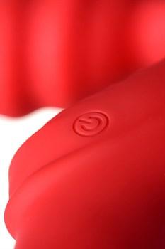 Красный безремневой страпон с вибрацией