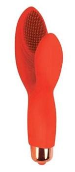 Красный силиконовый вибромассажер с округлым клиторальным отростком