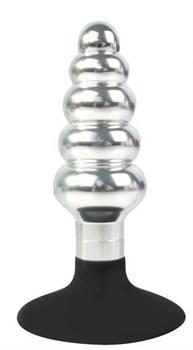 Серебристо-черная анальная пробка-елочка с круглым ограничителем - 10 см.