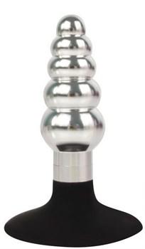 Серебристо-черная анальная пробка-елочка с ограничителем - 9 см.
