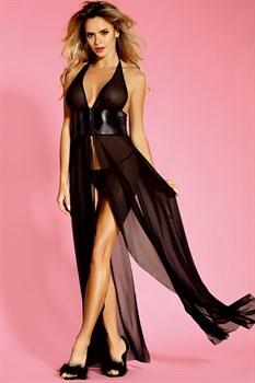 Длинное полупрозрачное платье с поясом под грудью