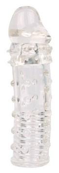 Закрытая прозрачная насадка-фаллос - 15 см.