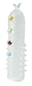 Закрытая белая насадка на пенис Crystal Sleeve с шариками и усиками - 14 см.