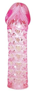 Закрытая розовая насадка-фаллос Penis sleeve - 11,7 см.