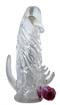 Закрытая прозрачная вибронасадка на пенис Crystal Sleeve Vibe - 12 см.