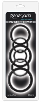 Набор черных эрекционных колец  Build A Cage Rings