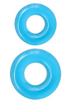 Набор из двух эрекционных колец голубого цвета Double Stack