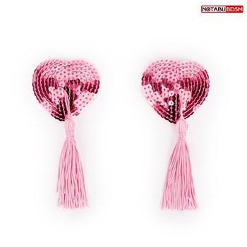 Розовые текстильные пестисы в форме сердечек с кисточками