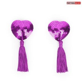 Фиолетовые текстильные пестисы в форме сердечек с кисточками